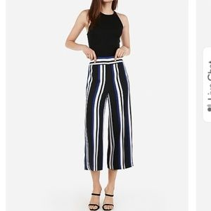 NWT Express High Waisted Striped Cropped Culottes